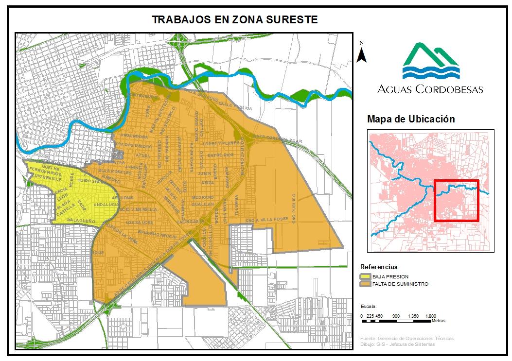 Listado de barrios alcanzados por trabajos sobre conducto DN 800 - 9/2